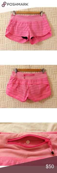 Lululemon Pink Striped Speed Shorts Lululemon gym / workout / running pink stripes speed shorts size 4.  In good condition.  No trades. lululemon athletica Shorts