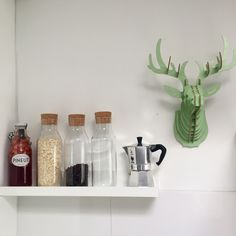Kitchen shelf with breakfast stuff