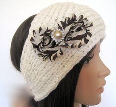 Ivory Knit  Ear Warmer Headband Head Wrap with by theraggedyrose, $25.00