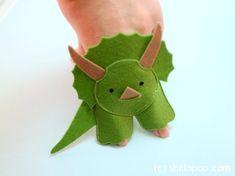 Triceratops Dinosaurs Felt Finger Puppet  Pattern 4