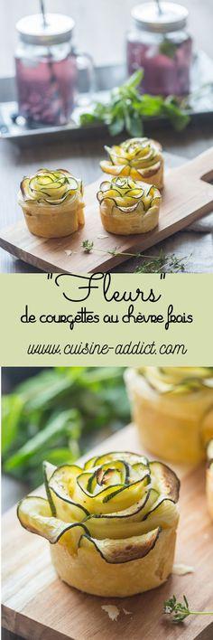 """""""Fleurs"""" de courgette au chèvre frais et à la menthe   via @cuisineaddict ♥ #epinglercpartager"""