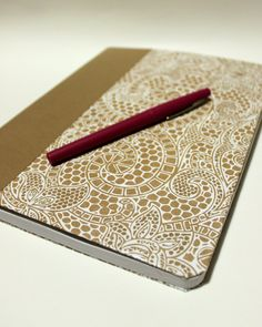 Altered Journal Composition Book White Textured floral mosaic by myampersanity