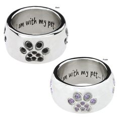I Am Complete Crystal Paw Stainless Steel Ring at The Animal Rescue Site