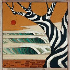 """Zen Tree 02"" © Erik Abel 2014. 19.5"" x 19.5"" Acrylic, marker, colored pencil on wood. Reclaimed Redwood Frame."