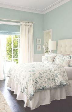 Ideas for the bedroom decor – romantic transitional style. Tufted headboard, white wallcovering in light green wall color Laura Ashley bedding. Calming Paint Colors, Wall Colors, Blue Bedroom Colors, Duck Egg Blue Bedroom, Bedroom With Green Walls, Relaxing Bedroom Colors, Light Green Walls, Peaceful Bedroom, Green Wall Color