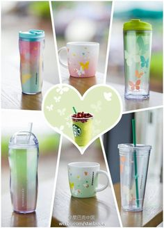 Love the cups not the green frappe in the middle looks nasty Starbucks