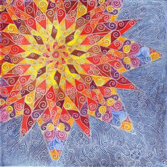 Golden Sun Mandala by mariagallery on Etsy, $200.00