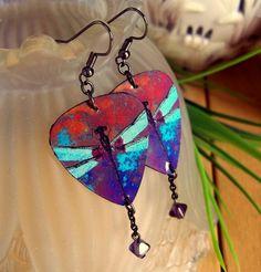 Dragonfly Earrings - Guitar Pick Jewelry. via Etsy.
