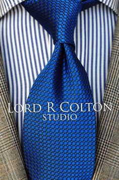 Lord R Colton Studio Tie - Sapphire Blue Dobby Woven Necktie - $95 Retail New #LordRColton #NeckTie