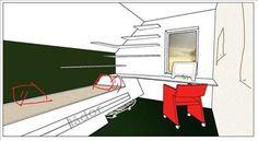 Under snedtaket byggs en måttanpassad säng-soffa med förvaring under. Också skrivbordet och hyllorna anpassas till rummets form.