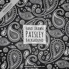Fondo negro con dibujos en blanco floral de Paisley Vector Gratis