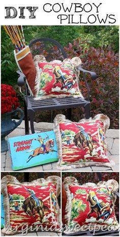 DIY Cowboy Themed Pillows by virginiasweetpea.com