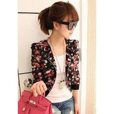 Stylish Scoop Neck Floral Print Zipper Shoulder Pad Chiffon Women's Coat, BLACK, ONE SIZE in Jackets & Coats | DressLily.com