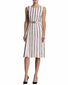 Vertical-Scallop Knit Dress & Jewel-Buckle Faille Belt by Oscar de la Renta at Bergdorf Goodman.
