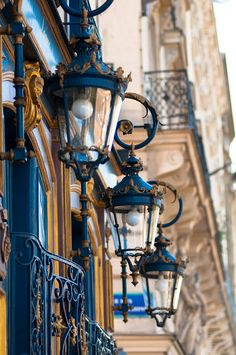 Paris Photography - Blue Lanterns, Architectural Fine Art Photo, Parisian Home Decor, Wall Art