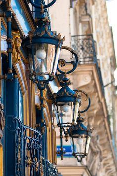 Paris Photography - Blue Lanterns, Architectural Fine Art Photo, Parisian Home Decor, Wall Art