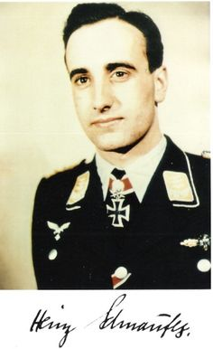 """Heinz-Wolfgang Schnaufer (16 February 1922 – 15 July 1950) was a German Luftwaffe night fighter pilot and is the highest scoring night fighter ace in the history of aerial warfare. All of his 121 victories were claimed during World War II at night, mostly against British four-engine bombers. Awarded with Knight's Cross of the Iron Cross with Oak Leaves, Swords and Diamonds on 16 October 1944, Germany's highest military decoration at the time. He was nicknamed """"The Spook of St. Trond""""."""
