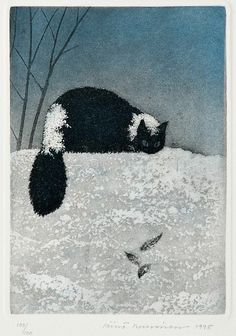 black cat in the snow illustration by Väinö Rouvinen Black Cat Art, Black Cats, Photo Chat, All About Cats, Cat Drawing, Crazy Cats, Kitsch, Cats And Kittens, Cat Lovers