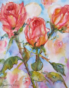 abstract roses original watercolor painting garden floral landscape contemporary 8 x 10 fine art. $69.00, via Etsy.
