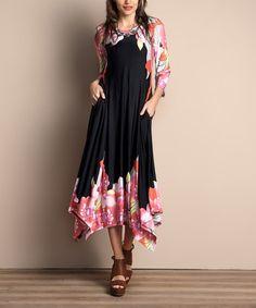 Look what I found on #zulily! Black Floral Handkerchief Maxi Dress - Plus #zulilyfinds
