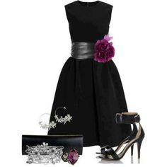 Black dress. Purple flower. Church clothes