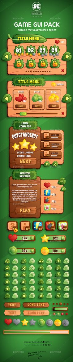 Leaves Game GUI Vector EPS, AI Illustrator. Download here: https://graphicriver.net/item/leaves-game-gui/10641478?ref=ksioks