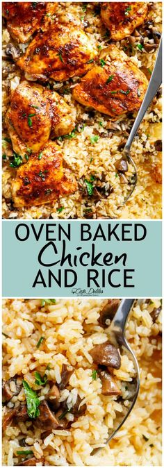 Oven Baked Chicken And Rice – Cafe Delites Dinner Chicken – Dinner Recipes Easy Chicken And Rice, Chicken Rice Recipes, Chicken And Rice Dishes, Chicken Rice Bake, Recipes With Chicken Thighs And Rice, Chicken Thighs And Rice Recipe, Chicken Rice Mushroom Casserole, Chicken Thigh Casserole, Baked Chicken And Mushrooms
