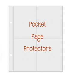 pocket page protectors for recipes on index cards