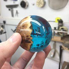Australian mallee burr hybrid sphere. Made by George Watkins
