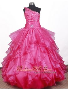 Beautiful Beading Ruffles Ball Gown Little Gril Pageant Dress One Shoulder Floor-length  http://www.fashionos.com  http://www.facebook.com/quinceaneradress.fashionos.us  This youthful Princess pageant gown features an asymmetrical neckline with pleated bodice with scattered beaded accents, this gown has a full tiered skirt and would be a great winning dress choice for a spring theme pageant or an adorable little girl pageant gown for a red headed beauty queen!