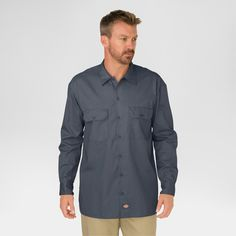 Dickies Men's Big & Tall Original Fit Long Sleeve Twill Work Shirt- Charcoal (Grey) M Tall