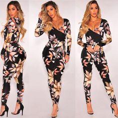 9c2bc9b4f8f2 Fashion Women Floral Print Long Sleeve Causal Bodycon Clubwear Jumpsuit  Romper Floral Jumpsuit