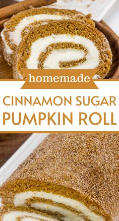 Cake rolls are so fun, you can really switch up the flavors and they are a complete refreshing change from layer cakes and sheet cakes. Plus who doesn't love when the frosting is swirled inside? I mean you literally get layers of frosting in each and every bite! This cinnamon sugar pumpkin roll will be hit for thanksgiving and christmas!
