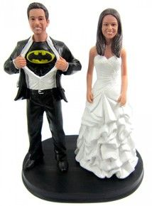Custom Batman Wedding Cake Toppers sculpted to look like the bride and groom!
