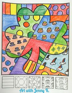 """FREE coloring sheet for St. Patrick's Day! This """"Pop Art"""" shamrock is a great art activity for kids. Try this lesson with your students and see how much they love them!"""