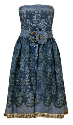 Pierre Balmain Couture 1950's Party Dress (metallic gold embroidered in charcoal gray floral silk organza). Image © Timeless Vixen.