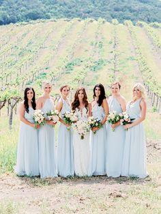 Wedding bridesmaids light blue dusty blue dresses