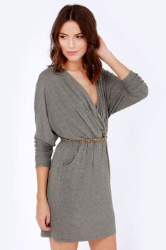 LULUS Exclusive Ruche Decision Heather Grey Dress at LuLus.com!