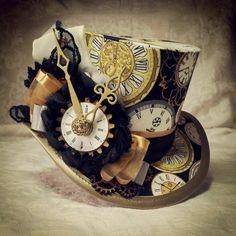 Mad Hatter, Alice in Wonderland, Steampunk Hat, Mini Top Hat, Tea Party, Sherlock, Gothic Hat, Lolita, Cosplay, Women Steampunk Hats, Kitsch