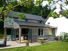 Finished Extension With Cedar Cladding And Anthra Zinc