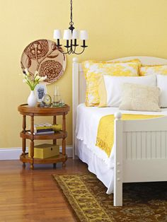 Trying to find a way to like the bright yellow walls in our new guest bedroom, so I don't have to paint it! Blank Wall Solutions, Home Bedroom, Bedroom Decor, Bedroom Ideas, Bedroom Inspiration, Bedroom Wall, Color Inspiration, Kids Bedroom, Master Bedroom