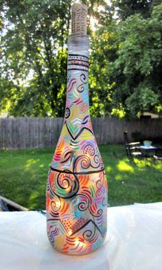 Luz Garrafa de Vinho, Night Light, pintado à mão garrafa de vinho, Design abstrato, fosco Garrafa, Garrafa de Arte