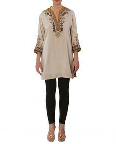 Ivory Embroidered Tunic with Embellished Yoke - Ritu Kumar - Designer - ROW - Offer