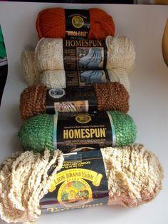 Lion Brand Yarn Homespun Terryspun Wool Ease lot of 6 Skeins #LionBrand #mixedstylelot