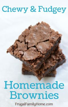 Brownie Recipes 50386 Make home made brownies for your family. These decadent brownies are a perfect brownie dessert for any occasion. These are chewy on the outside and fudge brownie on the inside. A perfect combination. Ultimate Brownie Recipe, Classic Brownies Recipe, Simple Brownie Recipe, Brownie Desserts, Brownie Recipes, Easy Desserts, Delicious Desserts, Dessert Recipes, Gastronomia