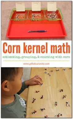 You can use corn kernels to practice some great early math skills, including estimating, grouping by 5s or 10s, and counting. See how we used corn kernels for some great fall math practice! || Gift of Curiosity