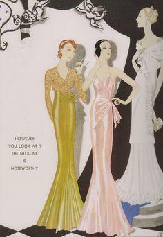 Art Deco Gowns by Augustabernard, from Harper's Bazaar Art Deco Illustration, Fashion Illustration Vintage, Illustrations, Vintage Fashion Sketches, 1930s Fashion, Art Deco Fashion, Retro Fashion, Moda Vintage, Vintage Mode