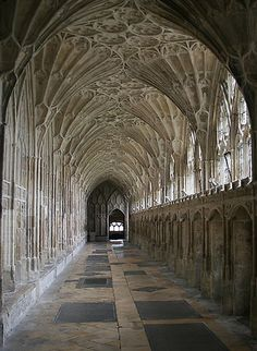 The beautiful fan vaulting in the Cloisters of Gloucester Cathedral, England.    The magnificent Perpendicular great cloister  ( begun in 1360, completed in the early fifteenth century)  with its stone fan vaulting, is considered by many to be the most beautiful in England. It was also used as the setting for one of the Harry Potter Movies !  (Link)