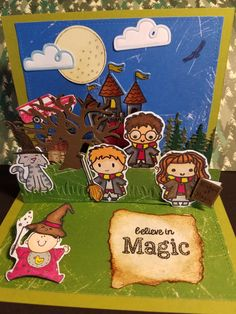 A baby card for a Harry Potter fan. Used Sweet stamp shop Wizards set and Lawn Fawn, Papertrey Ink, and Stampin Up. Harry Potter Karten, Carte Harry Potter, Harry Potter Cards, Kids Birthday Cards, Birthday Fun, Kids Cards, Baby Cards, Potter Box, Sweet Stamp Shop