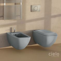 Wall hung wc colored Basalto Shui Comfort - Water closet colored bathroom Ceramica Cielo